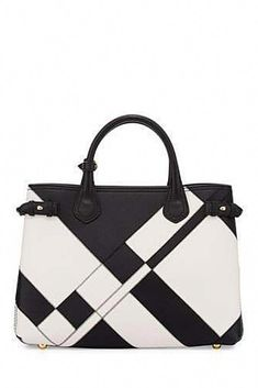 Burberry Banner Medium Patchwork Leather Tote Bag, Black/White leather handbags and purses Burberry Handbags, Tote Handbags, Purses And Handbags, Burberry Bags, Burberry Outlet, White Leather Handbags, Black Leather Tote Bag, Leather Totes, Leather Luggage