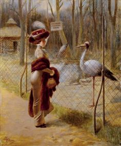 Guillaume, Albert (b,1873)- Woman in Zoo (Idential Feathers)