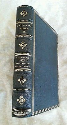 American Notes Pictures From Italy Charles Dickens Antique Full Leather Late 1800's