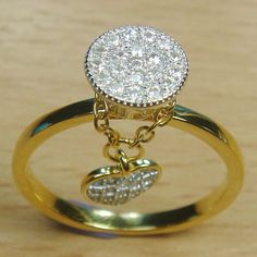 Massjewelry - Micro Setting White CZ 925 Sterling Silver Yellow Gold Plate Dangle Heart Ring