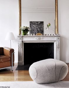 lovely fireplace, home of French architect Denis Valode