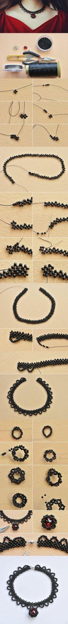 collier femme pas cher en petites perles noires