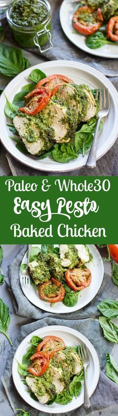 Easy one-pan Paleo and Whole30 pesto baked chicken that makes a great Paleo weeknight dinner, is kid friendly, and seriously delicious!  Gluten free, grain free, dairy free.