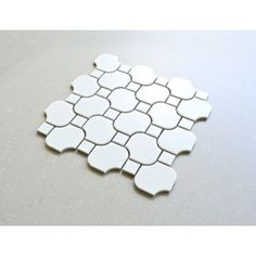 """Daltile Octagon and Dot 2"""" x 2"""" Ceramic Mosaic Tile in Glazed Matte White with Black Gloss Dot & Reviews   Wayfair"""