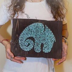 Elephant string board 2 / modern art / hand made / decor / design / string art / slon