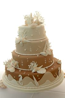 I seldom see beach themed cakes in shades of beige and brow, but I think this is lovely.