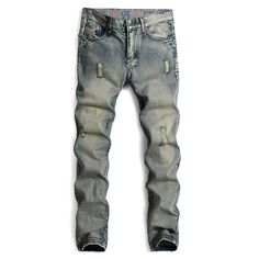 Find More Jeans Information about 2016 Brand Retro Ripped Jeans Homme Promotion New Solid Europe Hole Straight Jeans Men Casual Light Blue Denim Trousers Size 38,High Quality jeans trousers for men,China jeans for baby girls Suppliers, Cheap trouser length from Welcome visit Store - Good Quality Products Store on Aliexpress.com