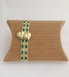 Green Ribboned Corragated Box with Hearts