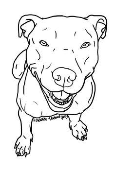 Free Pit Bull Line Art 13 by Wolfie-Undead