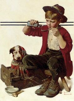 """Sick Puppy"""" Saturday Evening Post Cover March 10 1923 by Norman Rockwell Norman Rockwell Prints, Norman Rockwell Paintings, Vintage Posters, Vintage Art, The Saturdays, Sick Puppies, Retro, Saturday Evening Post, Arte Pop"""