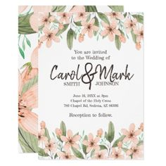 Watercolor Flowers. Spring Wedding. Card - wedding invitations cards custom invitation card design marriage party