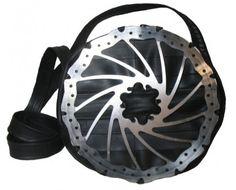 bike inner tube bag with brake rotor- gold-black lining