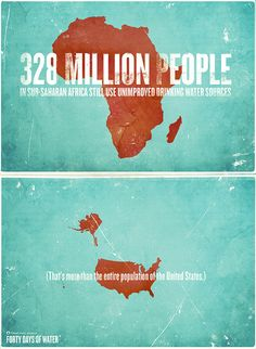 328 million people in Sub-Saharan Africa still use unimproved drinking water sources. (That's more than the entire population of the United States.)