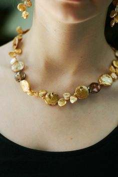 Champagne & Bronze Pearl Necklace and by MyPrettyChicBoutique