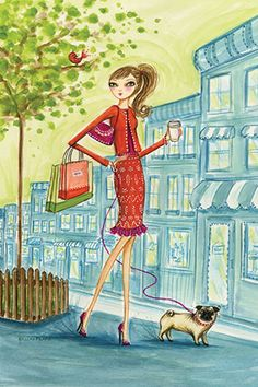 """Shop the City: """"Shopping With Doggie"""" By Bella Pilar Canvas Print #BPR117"""