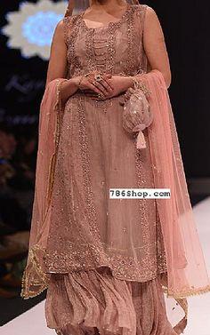 Rose Gold Chiffon Suit   Buy Pakistani Fashion Dresses and Clothing Online in USA, UK