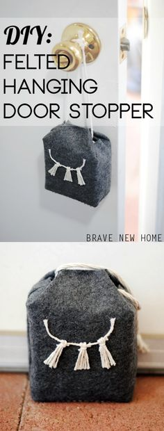 Jennifer shows you how to make a DIY door stop using a brick and felt. I love the mini tassel design on the front!