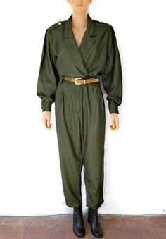 Vintage Jumpsuit 80's Military Inspired Army Green by luvofvintage