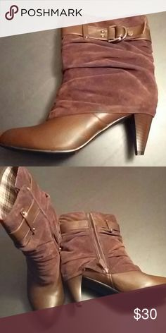 "Brown Booties *REDUCED* Stunning brown booties with buckle detail and side zip. Mixed media, so top is faux suede and bottom is faux leather. Heel is 2 1/2"". In excellent condition. Monroe and Main Shoes Ankle Boots & Booties"