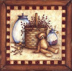 ... Berries, Stars and Jars Art Print by Mary Ann June