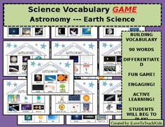 This wonderful review game is fun, competitive, and effective! This game gets all students actively thinking about key terms used in ASTRONOMY - which is how they learn! Each Science House has 6 vocabulary terms that teams work to identify by giving clues to their partner.