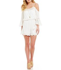 Takara Cold-Shoulder Blouson Romper