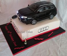 This cake has stolen all my sleep for the last two days im exhausted! but i wanted to get all the details right with the car. The car is cake as well as the bottom tier. my first two tiered car cake! haha im normally used to doing just the car as. 21st Birthday Cakes, Dad Birthday, Cake Stencil, Audi Q7, N21, Cakes For Boys, Girl Cakes, Cake Tutorial, Food Cakes