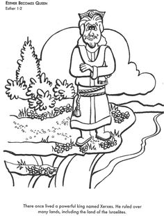 Learn Bible stories with Esther Becomes Queen Bible coloring page