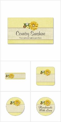 Country Sunshine on @zazzle #Button #Flower #Sewing #Handmade #SmallBusiness #Branding #Marketing #Sunshine #Yellow #Rustic #Country #Burlap #Fabric #Sunflower #Printable #Custom #Stickers #Labels #Packaging #Zazzle