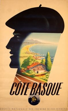 FRANCE Cote Basque, 1939 - original vintage poster by Roland Hugon Old Poster, Retro Poster, Poster Ads, Advertising Poster, Pub Vintage, Travel Ads, Train Travel, Train Posters, Tourism Poster