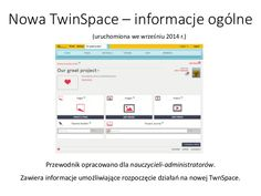 Welcome to the new TwinSpace EN by European Schoolnet via slideshare Welcome, Need To Know, Literacy, Fails, Teacher, News, L2, Projects, Log Projects