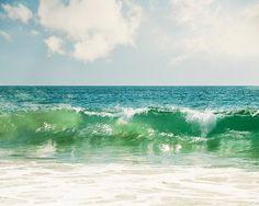 "Ocean Wave Photograph - beach blue green seascape photo coastal wall art large sea wave print seaside decor seashore, ""I Belong to the Sea"" Ocean Canvas, Ocean Art, Water Photography, Landscape Photography, Seaside Decor, Beach Artwork, California Art, Coastal Wall Art, Paisajes"