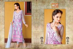 Organdy, Front and back Digital Print, Neck and Front threaded embroidery, Double Daman crosia With Chandla, Plain chiffon dupatta with 4 side border, Full Chiffon sleeves, 3 meter cotton bottom, Pink and Off white