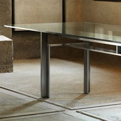 The Doge table originally designed in 1968 by Carlo Scarpa for Simon/Gavina was awarded Compasso d'Oro 1979 and is now produced by Cassina. Table Desk, Dining Table, Carlo Scarpa, Modern Masters, Glass Table, Retail Design, Doge, Interior Architecture, Bedroom Furniture