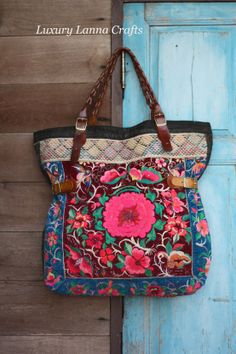 Luxury Lanna Crafts -Designed from Nature, Handcrafted in Quality. Unique and desirable this bag is a stunning match of fabric and chance. Diy Sac, Handbag Storage, Ethnic Bag, Boho Bags, Vintage Bags, Hippie Chic, Handmade Bags, Beautiful Bags, Luggage Bags