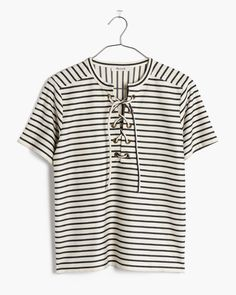 madewell striped lace-up tee