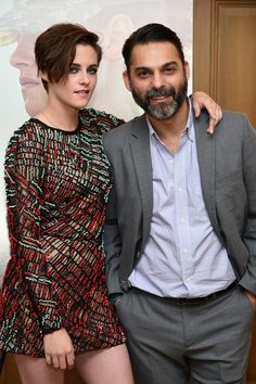 Kristen Stewart (L) and Peyman Moaadi attend the 'Camp X-Ray' New York premiere at the Crosby Street Hotel on October 6, 2014 in New York City.