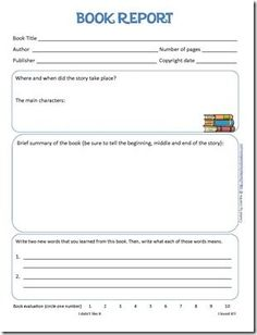 Free Middle School Printable Book Report Form  Middle School And