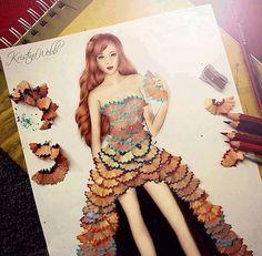 Arte com sobras de apontadores lápis