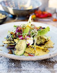 Mad Dog Salad adapted from Jamie Oliver: A Brit's take on guacamole with roasted avocado!