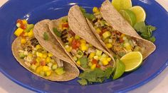Fish tacos with mango salsa makes life feel like a beach! Fresh flavors and a bright, colorful filling make these tacos the perfect feast for a family get-together! To boost fiber and nutrition, say adios to deep-fried taco shells and use soft whole wheat tortillas instead.