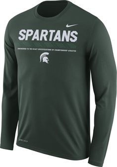 Nike Men s Michigan State Spartans Green Football Sideline Staff Legend  Long Sleeve Shirt 581cc0663