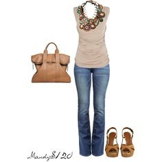 Brown with Beaded Necklace, created by mandys120 on Polyvore