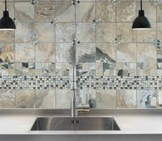 Florida Tile Legend in Color Titan 6x6 Porcelain Tile with Bliss 5/8 x 5/8 Glass Mosaic in Color Silver Aspen