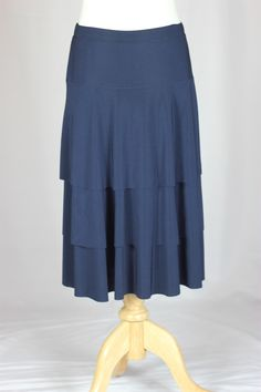 Navy Girls Below the Knee Tiered Layers Skirt, Sizes 8-18