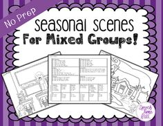 Are you struggling to work on multiple speech and language goals in one speech session?  Are you spending tons of time planning for mixed groups and sacrificing the fun?  This no prep pack is for you!Goals Addressed:-WH Questions-Following Directions-Syntax-Social Skills-Sequencing-Predicting-Vocabulary: categorization, association, adjectives, object/function, compare/contrast, composition-Articulation: /k, s, r, l, g, f, th, ch, sh/ initial and final positionsSeasonal Themes Included…
