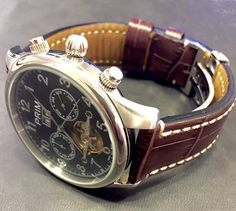 The reborn PRIM watches equipped with Hirsch strap. Hirsch Straps, Men Watch, Bracelet Watch, Watches, Antiques, Bracelets, Accessories, Fashion, Antiquities