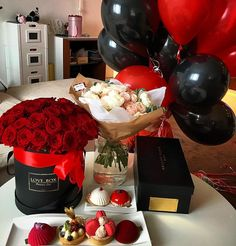 Red and black balloons roses chocolate candies My future <3