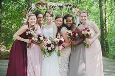 Mismatched bridesmaids, marsala, pink, gray wedding colors. Atlanta, Georgia. Dena-Malachi-autrey-mill-nature-center-wedding-web (7 of 22)