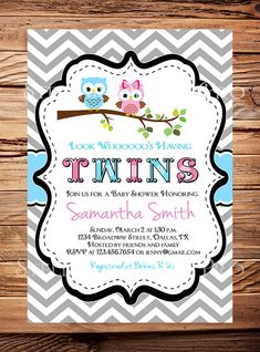 Owl Baby Shower Invitation Twins Baby Shower by StellarDesignsPro